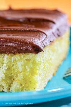 Tender Yellow Cake with Fudge Frosting © 2017 Jane Bonacci, The Heritage Cook