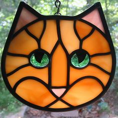 Amber Ginger Tabby Stained Glass Cat Face Ornament