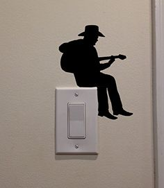 YINGKAI Cowboy Playing Guitar On Light Switch Decal Vinyl Wall Decal Sticker Art Living Room Carving Wall Decal Sticker for Kids Room Home Window Decoration >>> Be sure to check out this awesome product. (Note:Amazon affiliate link)