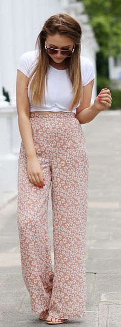 Nude Floral Palazzo Pants