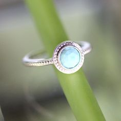 Rose Cut Turquoise Sterling Silver Ring Gemstone by louisagallery, $120.00