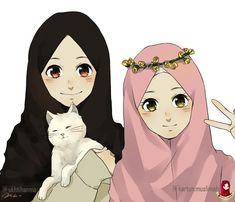 """Hanma (@ukhtihanma): """"Alhamdulillah dapat amanah luar biasa dari @kartun.muslimah untuk jadi Illustrator nya 😳 semoga…"""" Best Friends Cartoon, Friend Cartoon, Friend Anime, Sarra Art, Best Frends, Anime Korea, Hijab Drawing, Islamic Cartoon, Hijab Cartoon"""