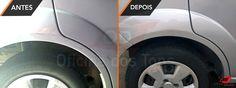Antes e depois de retoque na porta e coluna traseira lado direito Fiesta. — em Oficina dos Tons.