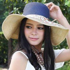 NEW Colorful Braided Crown Natural Toyo Straw Floppy Wide Brim Summer Sun HAT