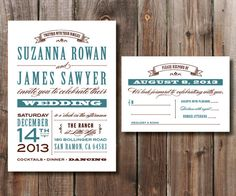 Rustic Wedding Invitation and RSVP Card by SimplyFetchingPaper, $30.00