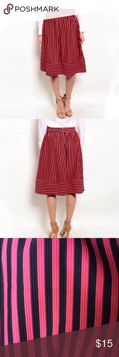 "NWOTS-Optical Illusionary SZ2 🍉/Blk Striped Skirt NWOTS, ""Must HAVE"" brand, a 100% poly, EZ care, GREAT travel skirt! Pair with Blk top or cream or white top & Blk jkt/blazer. Really a year-round skirt, except perhaps for wicked snow ❄️. Fun alternating stripe pattern @ waist & hem. W 13.5, L26"" (true midi-have FUN w/!) Hand wash, line dry. Please Enjoy 💚💗🌟 must HAVE Skirts Midi"