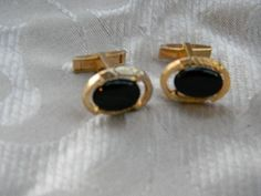 Vintage Oval Black and Gold tone CuffLinks Pat Pending USA   RosesHeirlooms - Jewelry on ArtFire