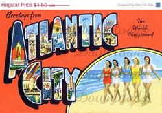 ON SALE Greetings From Atlantic City New Jersey NJ by PicsAgogo, $1.25