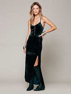 Free People Velvet Maxi. SO tempted to buy this and bring it with me to Vegas. I LOVE this dress