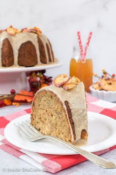 Toffee Apple Bundt Cake - this easy homemade apple spice cake is loaded with apples and toffee bits. The maple glaze makes it so pretty and delicious. #cake #bundtcake #apple #toffee #spicecake #homemade