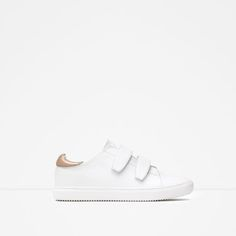 Image 1 of PLIMSOLLS WITH HOOK AND LOOP DETAIL from Zara Zara Sneakers, Zara Shoes, Plimsoll Shoe, Shoes 2015, Plimsolls, Zara Women, Canvas Sneakers, White Shoes, Your Shoes