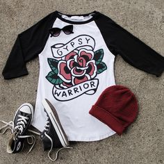 """Our item of the week! FOLLOW us & REPIN this photo and one winner will be selected to WIN our """"Rose Unisex Raglan Tee""""! Winner will be contacted on Pinterest Monday 1/18 #gypsywarrior"""