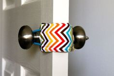 Great gift idea for new parents! Latchy Catchy in Rainbow Chevron (Patents Pending). Allows you to open and close babys door without making a sound. Keeps little ones from shutting themselves in the room.  // oh I need to make this!
