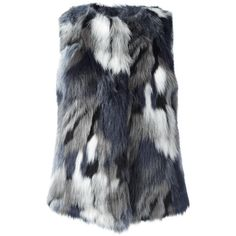 Armani Jeans faux fur gilet ($168) ❤ liked on Polyvore featuring outerwear, vests, grey, grey vest, armani jeans, gray vest, gilet vest and grey faux fur vest