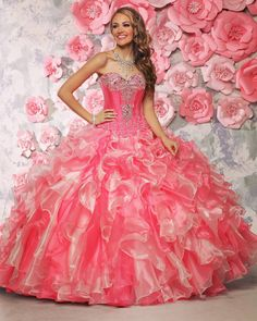 Candy Tuesday in Style 80304! We love this Blush/watermelon color combination! Our Spring 2016 collection has so many beautiful beading details mix of textures and fabrics! #Quinceanera goals all the way!