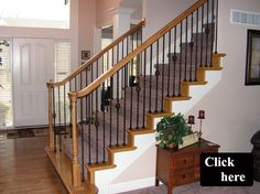 Iron Spindles and Wood End Treads Staircase Kansas City
