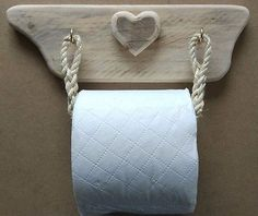 Rustic & Raw Toilet Roll Holder Cradle Wood Driftwood Rustic Heart Cute Shabby