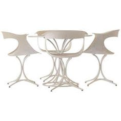 Erwin and Estelle Laverne Lotus Chairs and Table Vintage Chairs, Vintage Furniture, Cool Furniture, Modern Furniture, Brass Coffee Table, Dining Room Sets, Dining Tables, Aluminum Table, Leather Lounge