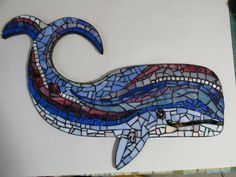 Shop for whale on Etsy, the place to express your creativity through the buying and selling of handmade and vintage goods. Mosaic Rocks, Mosaic Stepping Stones, Mosaic Glass, Glass Art, Pebble Mosaic, Mosaic Wall, Mosaic Animals, Ceramic Animals, Mosaic Art Projects