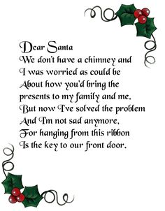 A bunch of different options for a poem to go with the Santa key (skeleton key - you can find them at Home Depot). Christmas Poems, Christmas Makes, Christmas Cards To Make, Christmas Activities, Christmas Goodies, Christmas Printables, All Things Christmas, Christmas Holidays, Christmas Decorations