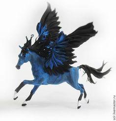 Blue Pegasus Horse Skulpture Figurine Art by DemiurgusDreams