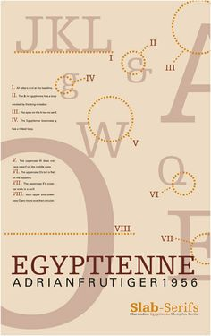 A poster dedicated to Adrian Frutiger's Egyptienne font. Showing off notable characteristics of the font and a historic background. Type Anatomy, Slab Serif, Typographic Design, Project 3, Mood Boards, Competition, Behance, Live, Poster