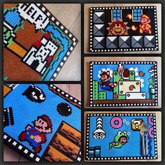 Super Mario perler bead art by kaapeloss Mario Yoshi, Perler Bead Mario, Mario Bros, Pony Bead Patterns, Hama Beads Patterns, Beading Patterns, Perler Beads, Fuse Beads, Animation Pixel
