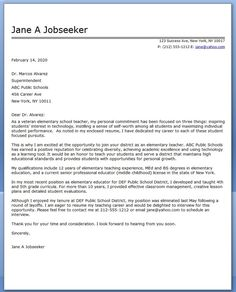 Elementary School Teacher Cover Letter Samples Example Application For
