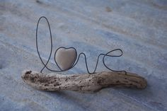 LOVE wire word and heart stone on driftwood by whimsyantiques