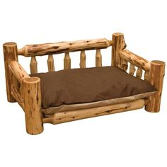 Fireside Lodge Traditional Cedar Log Dog Bed with Standard Mattress Color: Traditional Cedar is an alternative to traditional stuffing as filler for your dog Bed Not only does cedar have a obviously sweet Smell but it also repels fleas and ticks. Dog Sofa Bed, Dog Beds, Log Bed Frame, A Frame Cabin Plans, Rustic Log Furniture, Dog Furniture, Northern White Cedar, Cedar Log, Wood Dog