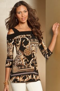 Scarf print cold-shoulder top in Sport 2013 from Boston Proper on shop.CatalogSpree.com, my personal digital mall.