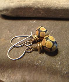 Dangle Earrings Earth Tones Drop Earrings by LadonnaStudio on Etsy, $27.00
