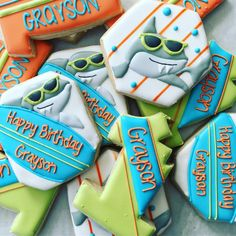 """55 Likes, 4 Comments - Sarah (@birdtreats) on Instagram: """"Happy first birthday, Grayson! Cookies were inspired by the birthday boy's invite."""""""