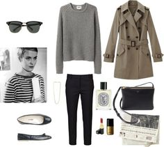 Untitled #1292 by girlinlondon featuring square glasses ❤ liked on Polyvore Acne Studios gray pullover sweater / 3.1 Phillip Lim slit pants / Toast black ballerina shoes, $235 / Metal jewelry /...