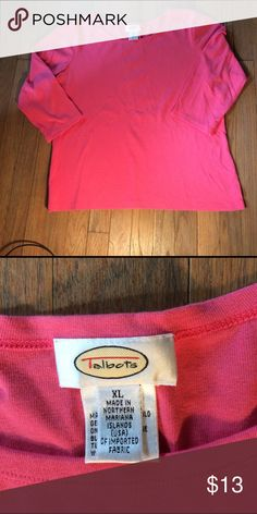 Talbots Pink Top for Spring XL A cute, figure flattering Top for Spring and Summer. Please note the pink is not bright as picture portrays. Preloved.  Price reflects this. love this top, but I have so many, time to downsize. Talbots Tops