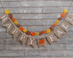 HAPPY FALL Burlap banner - Fall banner, fall decor, Thanksgiving banner, Thanksgiving decor, Fall sign, Autumn banner, Holiday banner