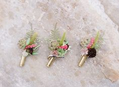 Rifle shell boutonnieres. @Jodi Miller Photography, and Holly Chapple