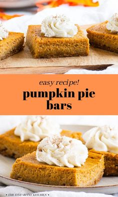 Pumpkin pie bars are an easy homemade treat dessert that's perfect for Thanksgiving. These bars taste just like traditional pumpkin pie but they're made with a graham cracker crust! They're creamy, lightly spiced, and perfectly pumpkin-y.. If you love traditional pumpkin pie you'll go crazy for this quick and simple recipe! #ad Sweet Potato Pecan Pie, Sweet Potato Cheesecake, Make Ahead Desserts, Easy Desserts, Dessert Recipes, Pumpkin Pie Bars, Pumpkin Puree, Graham Cracker Crust, Dessert For Dinner