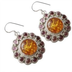 """100% Pure 925 Sterling Silver Jewelry 1.69"""" Amber New Earrings """"PCBE-724"""" #Handmade"""