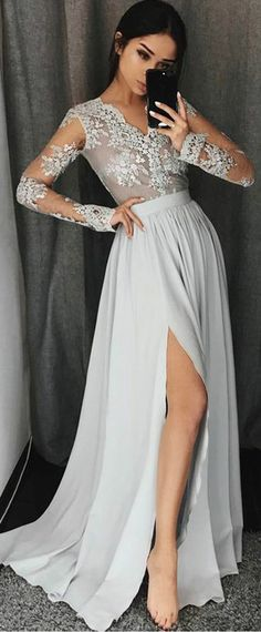 Gorgeous Chiffon V-neck Neckline Long Sleeves A-line Prom Dress With Lace Appliques