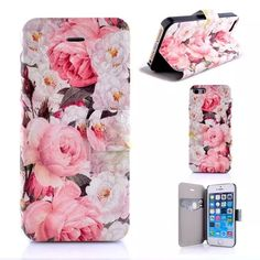 Flower Leather Book Flip Cover Case for iPhone 5 5S SE 5C Phone Case With Card Slot Screen Protector
