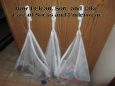 Genius! No more sorting socks and underwear. Use Lingerie Bags and 3M Command Hooks instead!