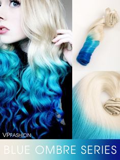 ellena johnston blue ombre mermaid colorful indian remy clip in hair extensions-c015