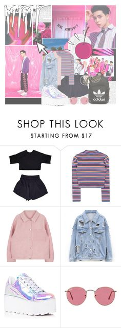 """""""digital (also known as the era in which johnny destroyed everyone but was also low-key emo?)"""" by rapgodcminho ❤ liked on Polyvore featuring SCARLETT, GALA, Pointer, Old Navy, Y.R.U., adidas Originals, Ray-Ban and Joyrich"""