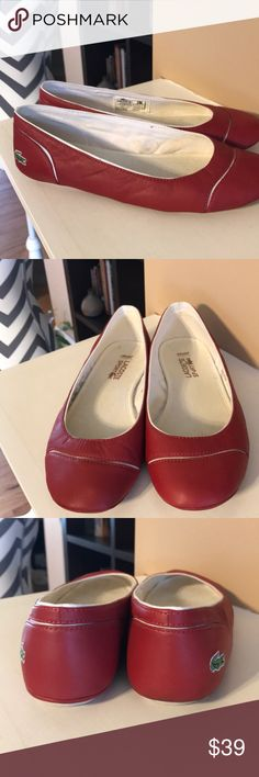 Lacoste Ortholite Flats Red Lacoste flats.  In excellent shape except for some discoloration on the inside Lacoste Shoes Flats & Loafers