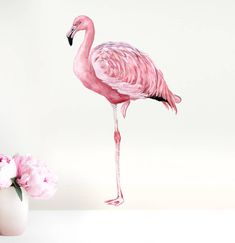 Flamingo Wall Decal, Flamingo Decor, Flamingo Art - No PVC Fabric Wall Sticker. Flamingo fabric wall decal from original watercolor illustration. Removable and repositionable times! *Also available as Giclée print. Flamingo Fabric, Flamingo Decor, Pink Flamingos, Wall Stickers, Wall Decals, Pvc Fabric, Fabric Material, Kids Wall Decor, Pink Bird