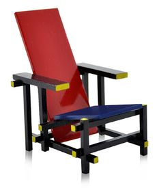 MINIATURA - Móveis em miniatura - Desmobília - Cadeira Red & Blue Madeira - Design Gerrit Rietveld, 1918/1923