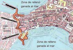 Interesante mapa de Coruña donde se ve la zona ganada al mar y la antigua muralla de la que sólo se conserva el espigón que separa el Orzán de Riazor El Canton, City Photo, Portugal, Vintage, Maps, The Neighborhood, Santiago De Compostela, Antique Photos, Towers