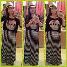 hat-spring,top-mango,maxi skirt-forever 21