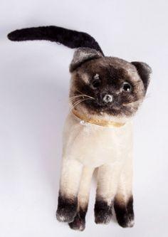 Sweet vintage mohair Siamese cat by Kamar